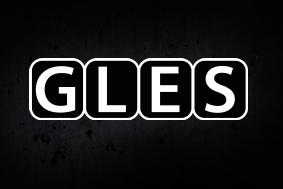 Gles logo tummalla taustalla