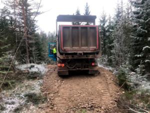 Metsäautotien teko Gles Rock 0-90mm betonimurskeella