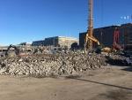 Betonin pulverointia Helsingissä ennen hyötykäyttöä
